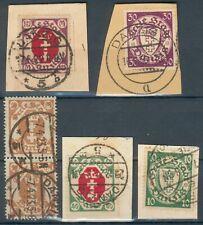 Danzig Lot/Posten mit 5 Briefstücke und Werten Mi.-Nr.79,95,111,194,247 o