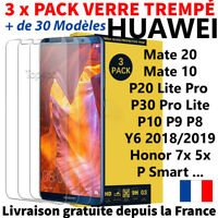 3-Pack Huawei P30 Pro Lite Mate 20 Honor P Smart Tempered Glass Protection Ecran