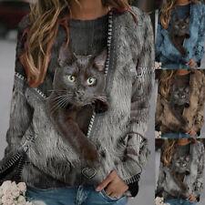 Women Long Sleeve Crew Neck T Shirt Casual Cat Print Blouse Warmer Loose Fit Top