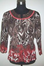 Yarns & Stitches Top S Knit Brown White Black Pink Beaded Sweater Dress Casual