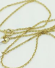 """14k Solid Yellow Gold High Polish Cable Link Pendant Necklace Chain 13"""" 1.1mm"""