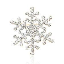 Gold Sparkly Charm Snowflake Rhinestone Crystal Bridal Brooch Pin Wedding Party