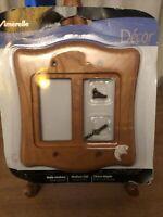 Amerelle Medium Oak Wallplate 2 Rocker New In Box