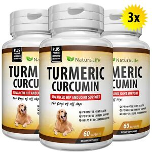 TURMERIC CURCUMIN DOGS DIGESTIVE JOINT SUPPORT SUPPLEMENT TUMERIC 180 CAPSULES