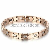 Women's Rose Gold Tone Bracelet Tungsten Carbide w Magnetic Therapy Elements