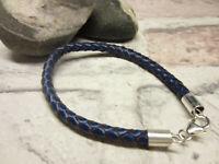 Negro rojo o verde azulado de cuero genuino marrón Cable Pulsera De Plata Esterlina 925 Perlas