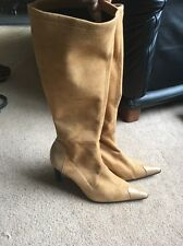 Ladies Lovely Tan High Heeled Boots Size 39