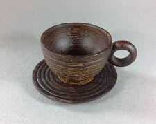 PALM WOOD COFFEE HANDMADE CARVED CUP MUG THAI HANDICRAFT