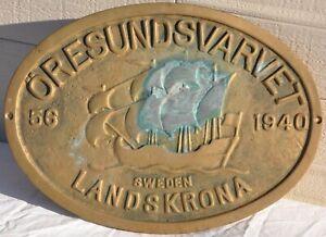 Vintage Oresundsvarvet Landskrona Sweden Brass Shipyard Builders Plaque Nautical