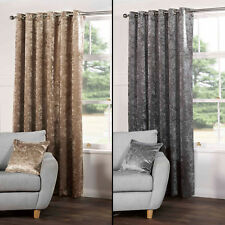 PAIR OF CRUSHED VELVET FULLY LINED EYELET CURTAINS SILVER GREY CHAMPAGNE GOLD
