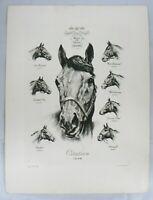 VINTAGE 1948 KINGS OF THE TURF HORSE PRINT SIGNED R. H. PALENSKE
