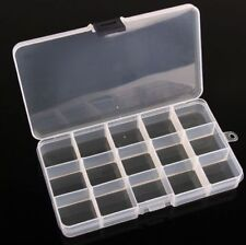 Plastic 15 Slots Jewelry Adjustable Tool Box Case Craft Storage Beads #M2250 QL