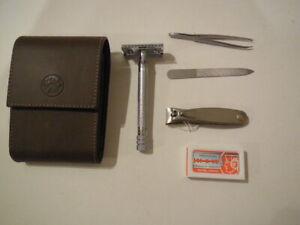 MERKUR Safety Razor - SHAVING KIT new Unused - leather case - Germany -