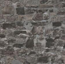 3D Effect Brick Wall Stone Wallpaper Graphite Slate Grey Realistic Textured