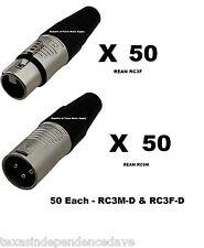 Lot of 50 each New Neutrik REAN RC3F Female XLR & RC3M Male XLR Connectors