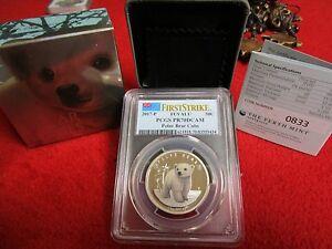 2016-P Tuvalu 50c Polar Bear Cubs PCGS PR70DCAM .999 Silver Coin Bullion