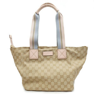 GUCCI Tote Bag Beige Pink GG Canvas