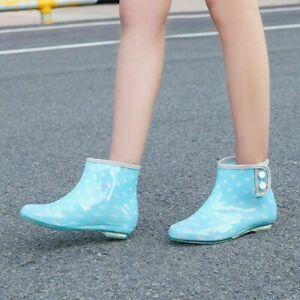 Outdoor Non Slip Casual Women Waterproof Rain Ankle Boots Round Toe Buckle Shoes