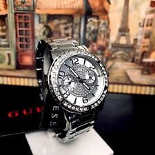 AUTHENTIC GUESS LADIES' SASSY WATCH SILVER TONE RRP:$349 0705L1 Brand New