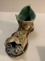 Vintage Capodimonte Porcelain Hobo Boot Planter B385 Flower and Dog