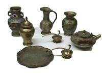 Vintage Lot Of Brass India Teapot Urn Dish