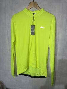 Mens DHB Fluro Yellow Cycling Full Zip Jersey. New Tagged Size Large