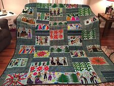 HAND STITCHED ONE OF A KIND KING SIZE BED COVER MEXICAN SOUTH AMERICAN