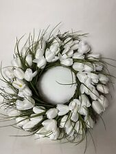 "National Tree Company 20"" White Tulip Wreath Flowers Winter Door Decoration"