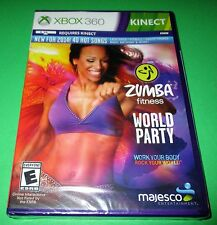 Zumba Fitness World Party Microsoft Xbox 360 *Factory Sealed! * Free Shipping!