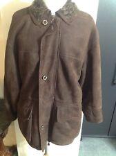 Roberto Pierguidi Lambskin Suede Shearling Brown Coat Made In Italy EU 48 US 40