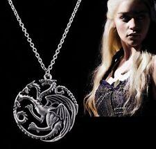 Game of Thrones Dragon Pendant Daenerys Targaryen Necklace Antique Silver Color