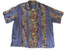 Men's Tommy Bahama Short Sleeve Light Blue Floral Silk Hawaiian Camp Shirt XXL