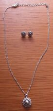 Necklace Ladies Silver Filled Silver Bead Cubic Trigger Clasp set Match Earrings
