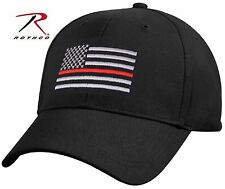 Thin Red Line Low Profile Fireman Baseball Cap - Black Firefighters USA Flag Hat