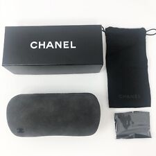 Brand New Chanel Black Gray Glasses Case Clamshell Hinged Leather Suede