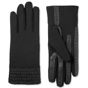 ISOTONER Black Stretch Herringbone Hem smarTouch Lined Womens Tech Gloves L XL