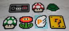 : Perler Bead Art Magnet - Nintendo Nes Icons game mushroom flower handmade :