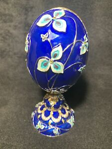 Russian Easter Faberge Egg Blue Flowers Basket Made in Russia Gift Box