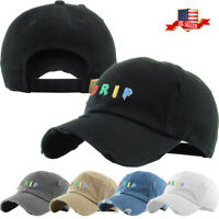 Drip Multi Color Embroidery Dad Hat Baseball Cap Unconstructed