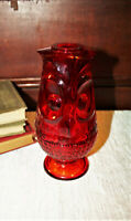 Vintage Viking Art Glass Ruby Red Owl Glimmer Fairy Tea Candle Lamp Retro