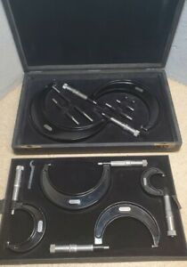 "Starrett 436 outside micrometer set 0"" to 6"" in beautiful vintage case"