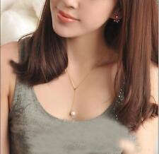 Women 18K Gold Chain White Pearl Pendant Collar Choker Bib Wedding Necklace