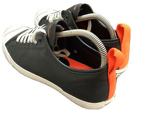 Very Rare Black Bright Orange LEATHER CONVERSE JACK PURCELL Size UK 7 Us8 Eur41