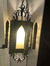 Vintage Mid Century Spanish Tudor Light Fixture  Chandelier Metal And Wood