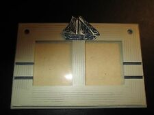 Sailboat Theme Double Photo Frame, Wood, Nautical Decor