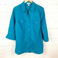 Tweeds Women's Blue Linen Shirt Button Front 3/4 Sleeves Lightweight size 2X