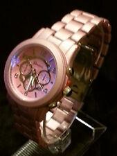 New Geneva Unisex Geneva Boyfriend Chronograph MK Style Link Watch Matte Pink