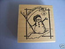 CREATIVE IMAGES RUBBER STAMPS  MERRY CHRISTMAS SNOWMAN STAMP