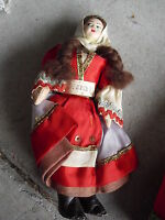 """Vintage 1950s Cloth Greece Woman Character Doll 7 1/4"""" Tall"""