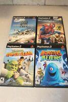 Playstation 2 Video Game Bundle Lot of 4 Rated E10+ Spider-man Shrek Super Slam